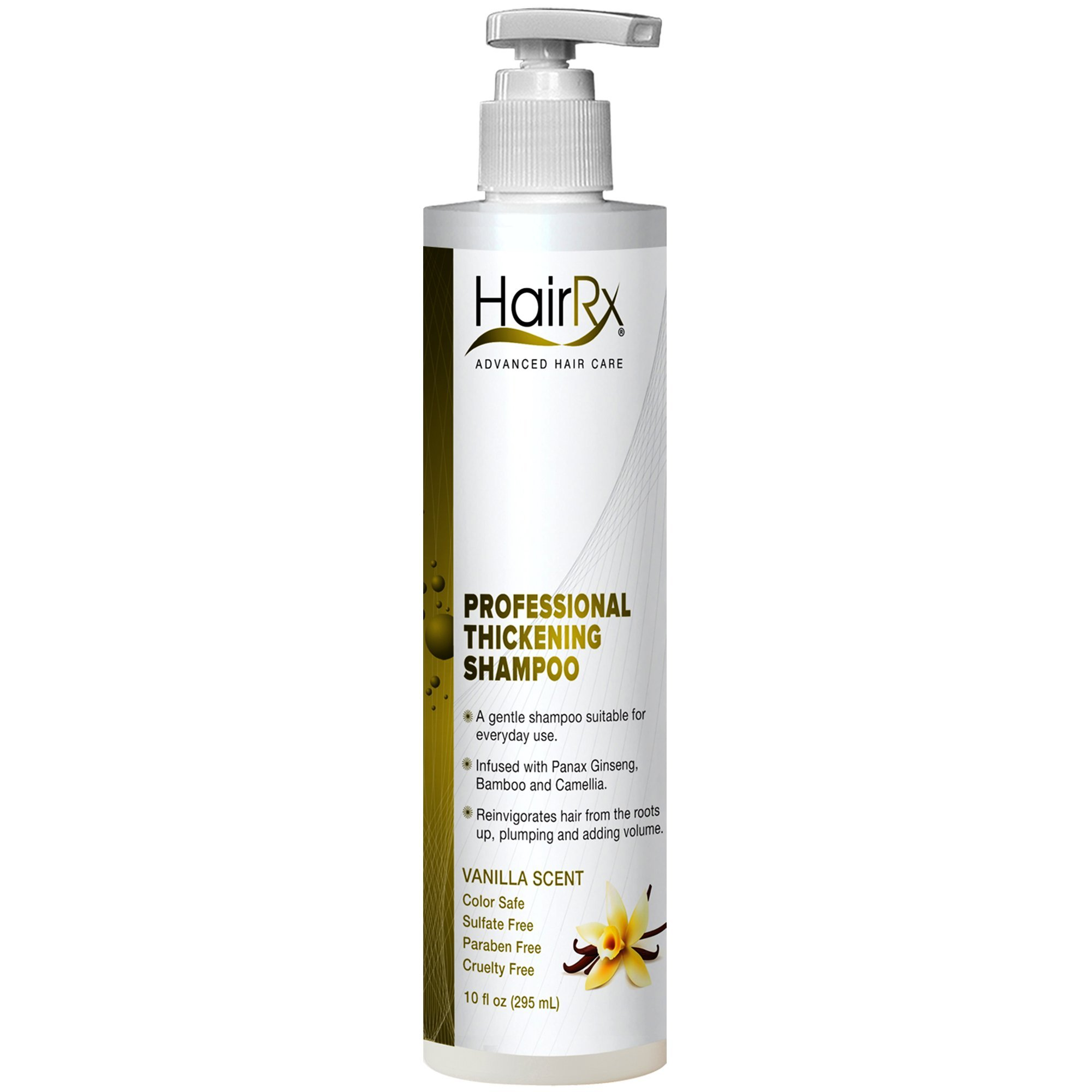 HairRx Professional Thickening Shampoo with Pump, Light Lather, Vanilla Scent, 10 Ounce