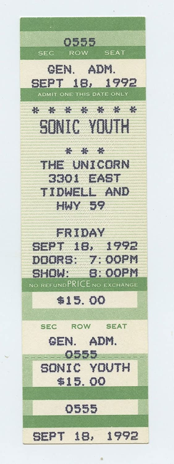 Sonic Youth 1992 Sep 18 Ticket The Unicorn, Houston