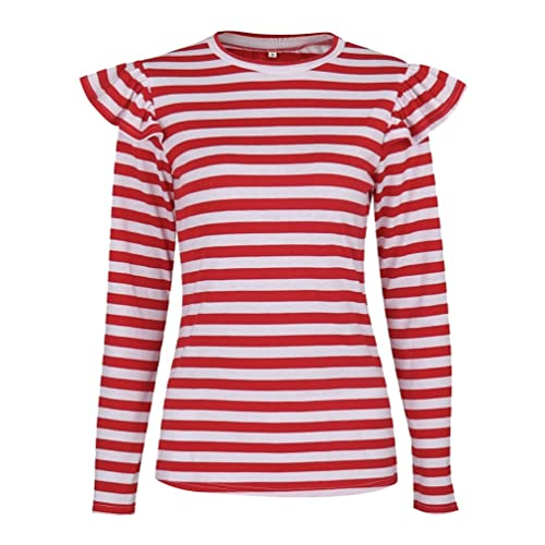 NiSeng Mujer Camiseta Mango Largo Blusa Cuello Redondo Casual Rayas Modernas Blusas Top