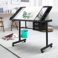 Drawing Desk Artiss Ajustable Tempered Glass Top Metal Base Art & Craft Drafting Desk Table Workstation with Removable…