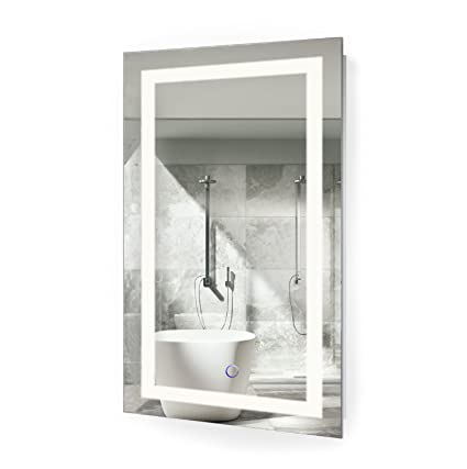 Beau Amazon.com: Krugg LED Bathroom Mirror 18 Inch X 30 Inch | Lighted Vanity  Mirror Includes Dimmer And Defogger | Wall Mount Vertical Or Horizontal ...