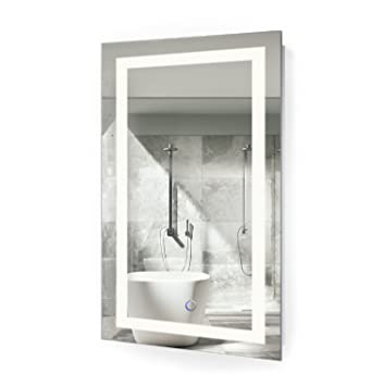 led bathroom mirror 18 inch x 30 inch lighted vanity mirror includes dimmer and defogger