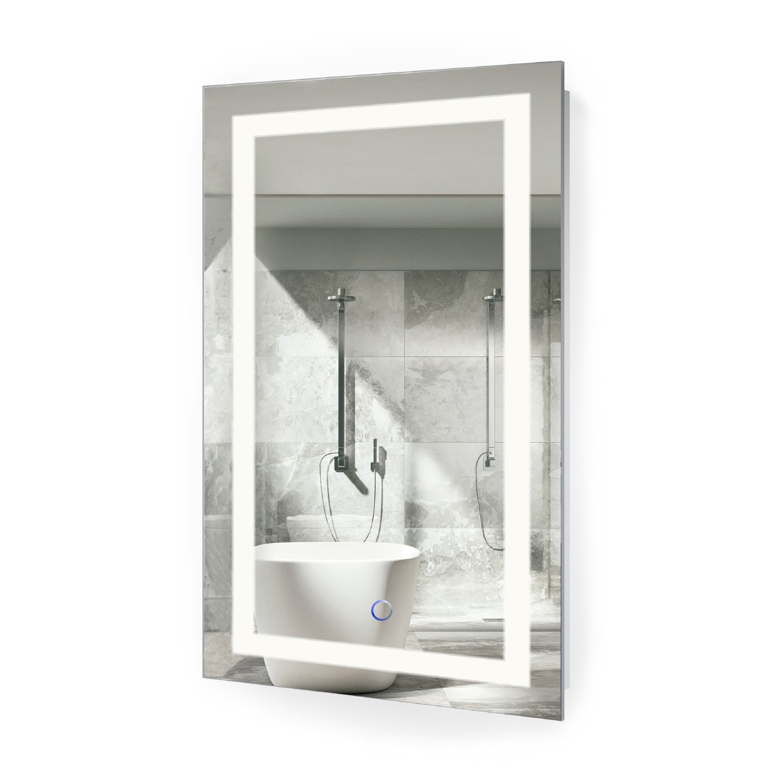 LED Bathroom Mirror 18 Inch X 30 Inch | Lighted Vanity Mirror Includes Dimmer and Defogger | Wall Mount Vertical or Horizontal Installation |