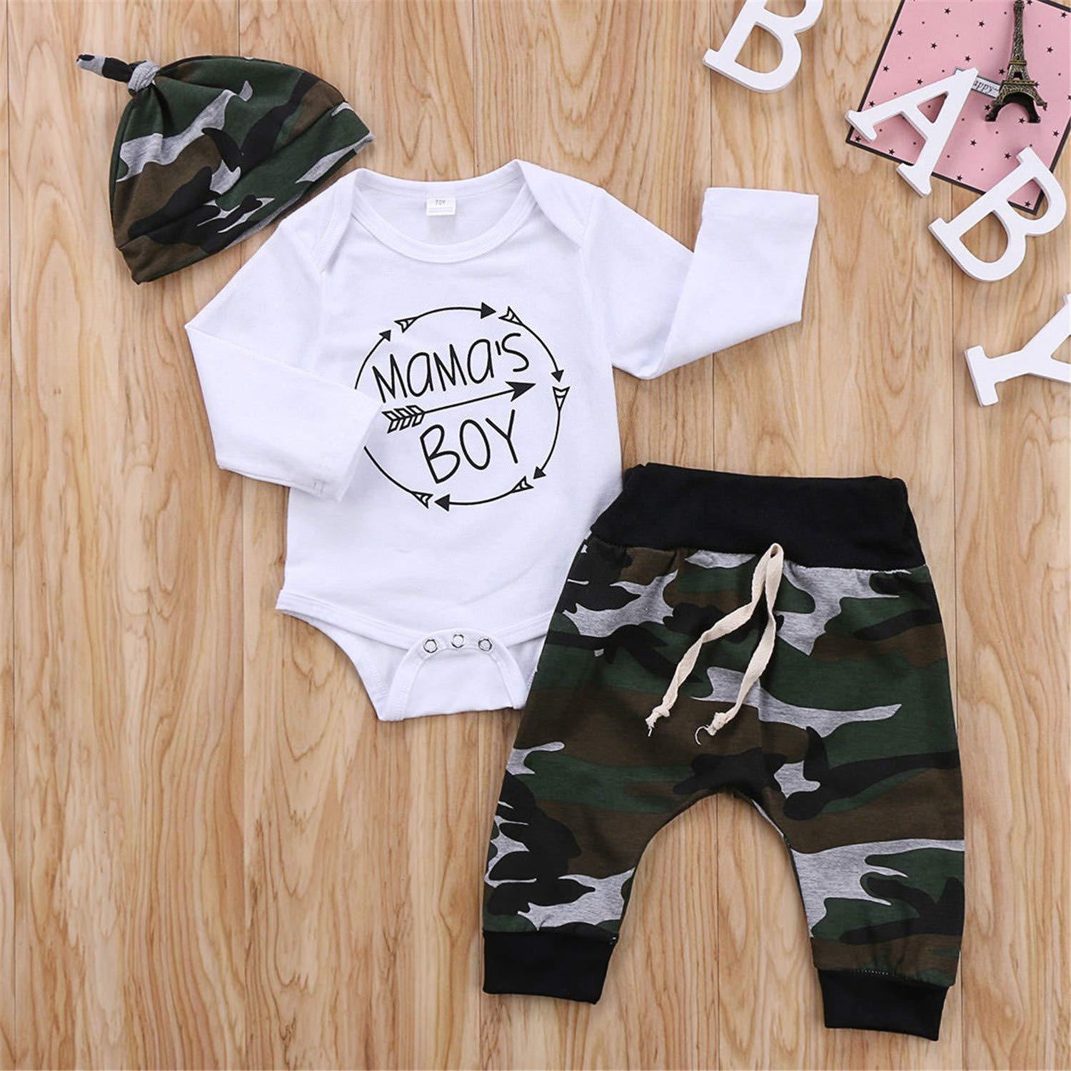 New 3Pcs Set Newborn Toddler Infant Baby Boy Long Sleeve Tops Romper Camouflage Pants Hat 3Pcs Kids Outfits Clothes