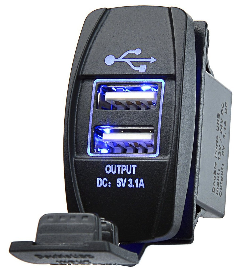 DecoStain Universal Rocker Style Dual USB Port Charger Blue LED Light Car,Boat