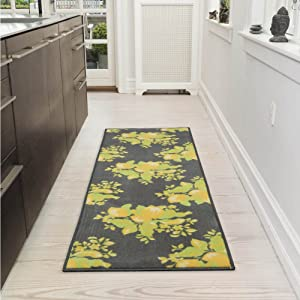 "Ottomanson Lemon Collection Contemporary Grey Lemons Design Runner Rug with (Non-Slip) Kitchen and Bathroom Rugs, Grey, 20"" X 59"""
