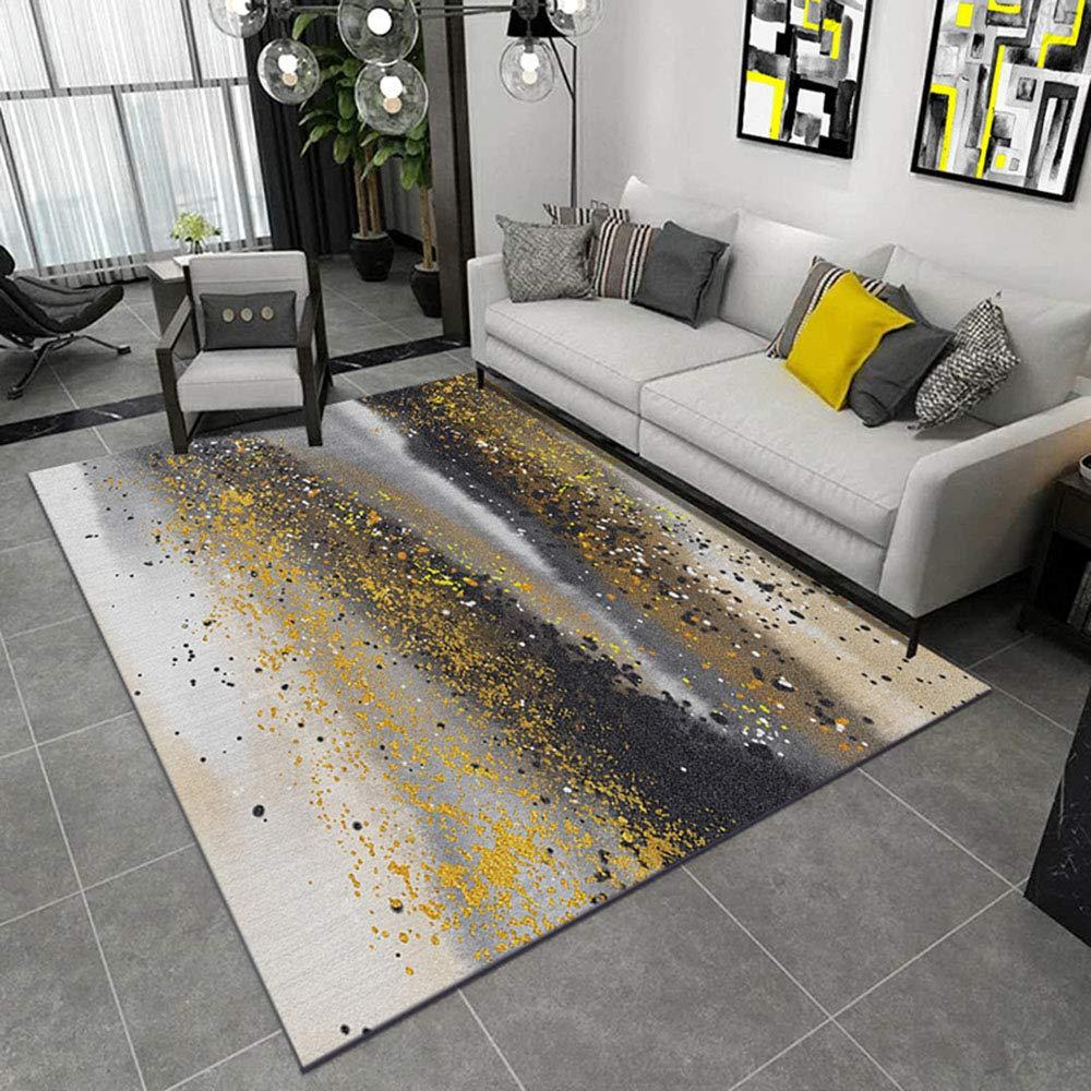 LZHDAR Teppiche für Wohnzimmer Schlafzimmer, modernes hellgelbes zeitgenössisches Muster dauerhafter Teppich stilvolle Innengröße 120 x 160 cm,YellowB,120  160cm