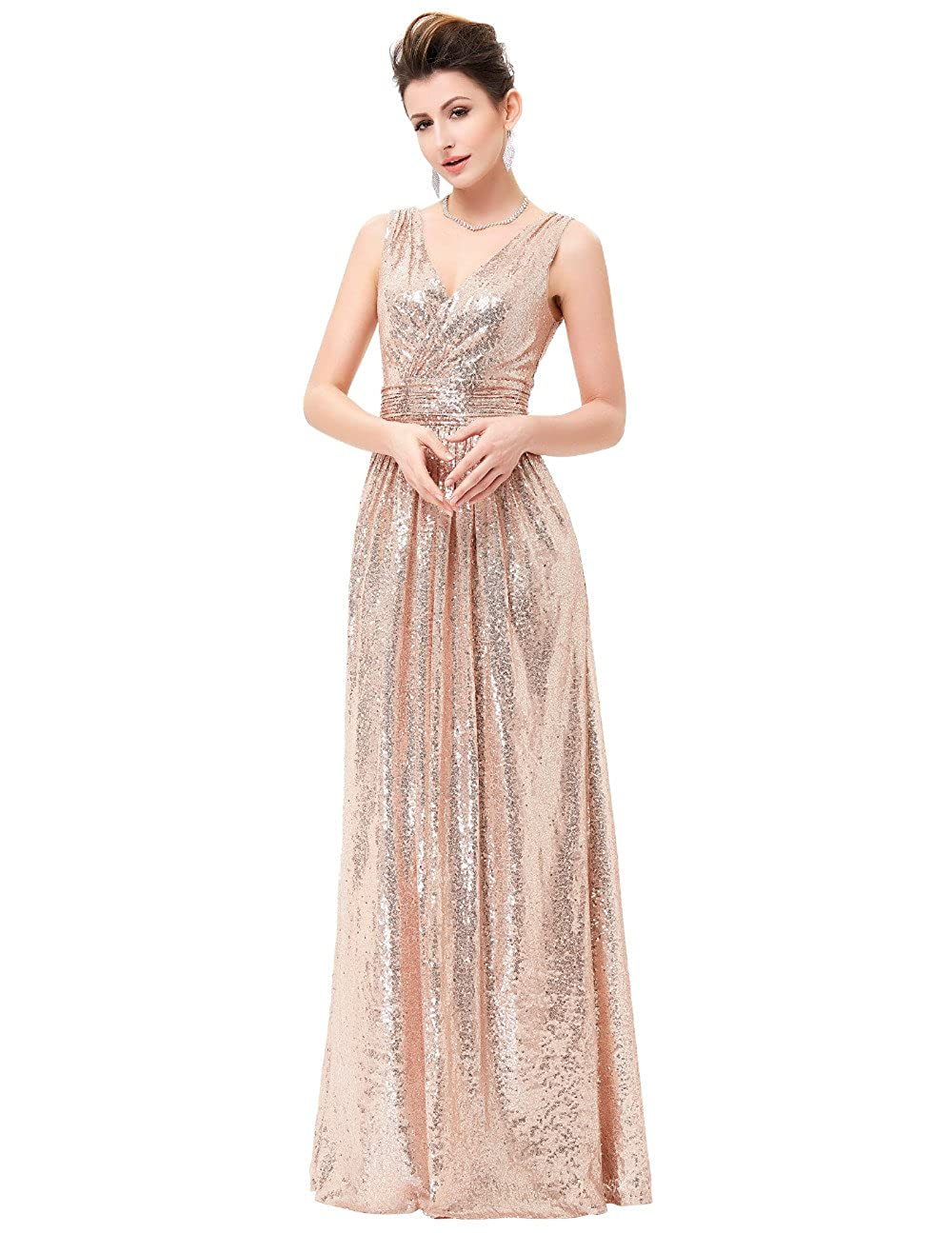 Kaitaijidian Womens Long Sequin Evening Dres Party Formal Prom Dresses - Gold - 18: Amazon.co.uk: Clothing
