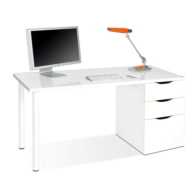 Habitdesign 004604A - Mesa ordenador reversible dos cajones y una puerta, mesa despacho, escritorio Athena acabado en color blanco artik, 138 x 74 x ...