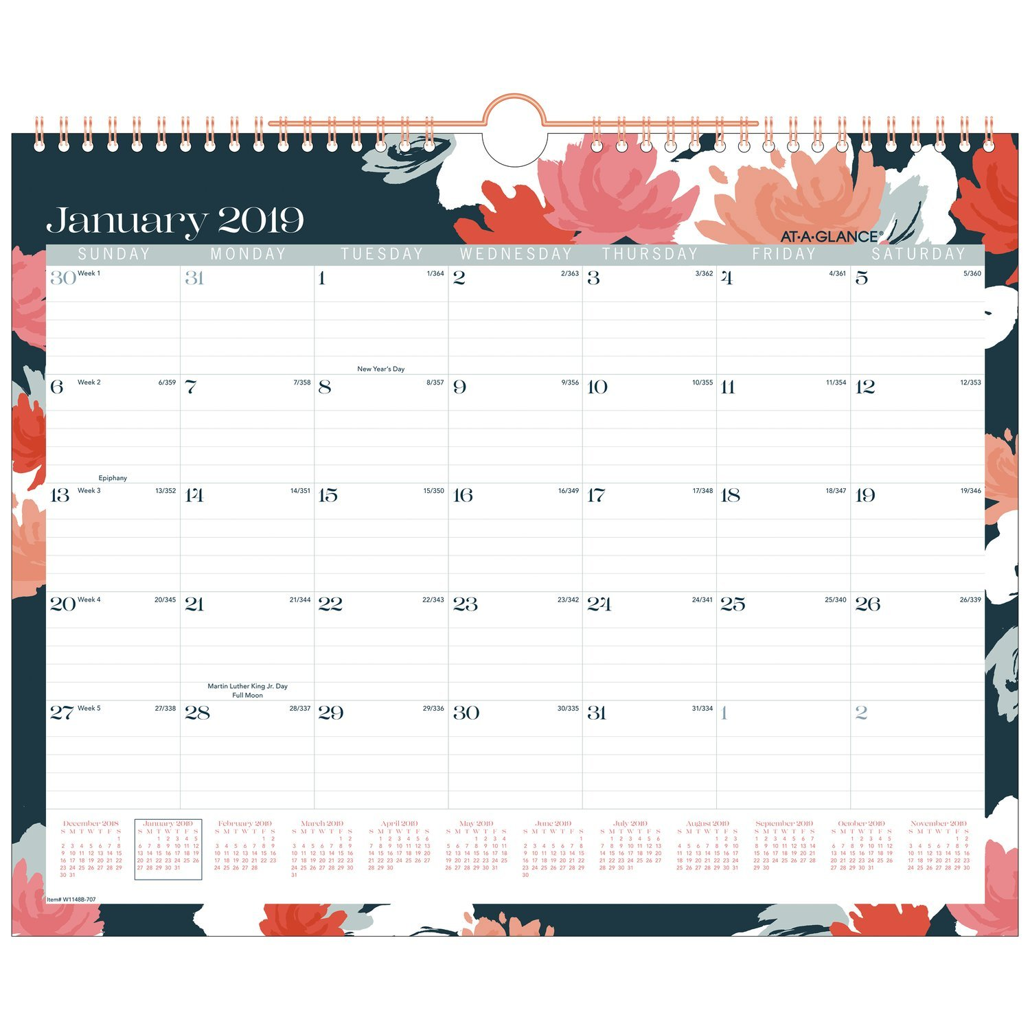 AT-A-GLANCE Monthly Wall Calendar, January 2019 - December 2019, Large Size, Wirebound, Badge Floral (W1148B-707)