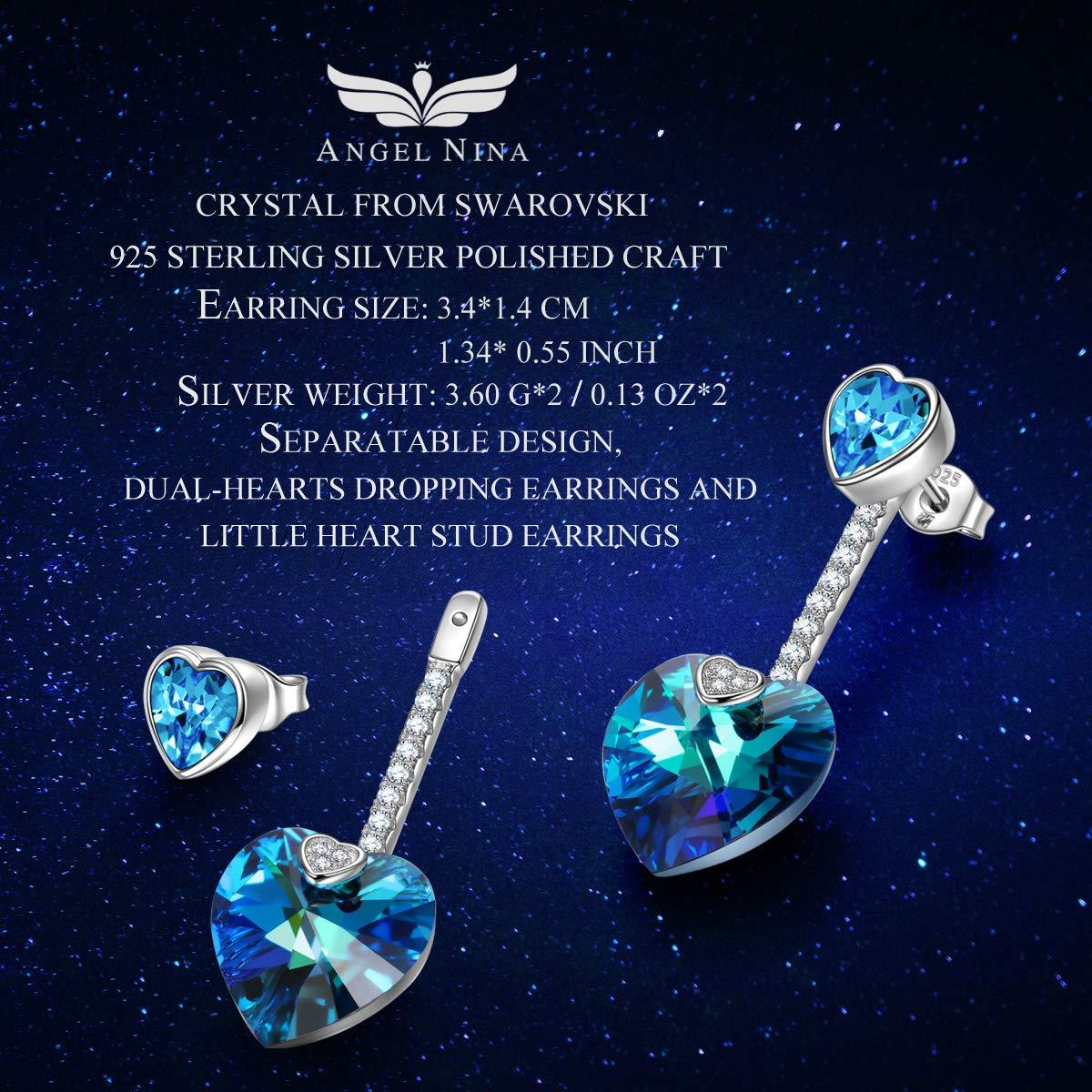 ANGEL NINA Corazón Pendientes Mujer largos Aretes Plata de ley 925 cristales Swarovski Joyas Regalos para Navidad San Valentín cumpleaños Aniversario Boda ...