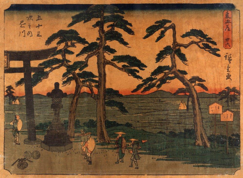 Travelers Pausing at statue at the Kakegawa駅Japanese木材カット印刷 36 x 54 Giclee Print LANT-21521-36x54 36 x 54 Giclee Print  B01MG3RA87