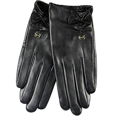 ded484d96e9ac ELMA Supple Nappa Leather Silk Lined Gloves with Leather Bow Gold Plated  Logo (S,