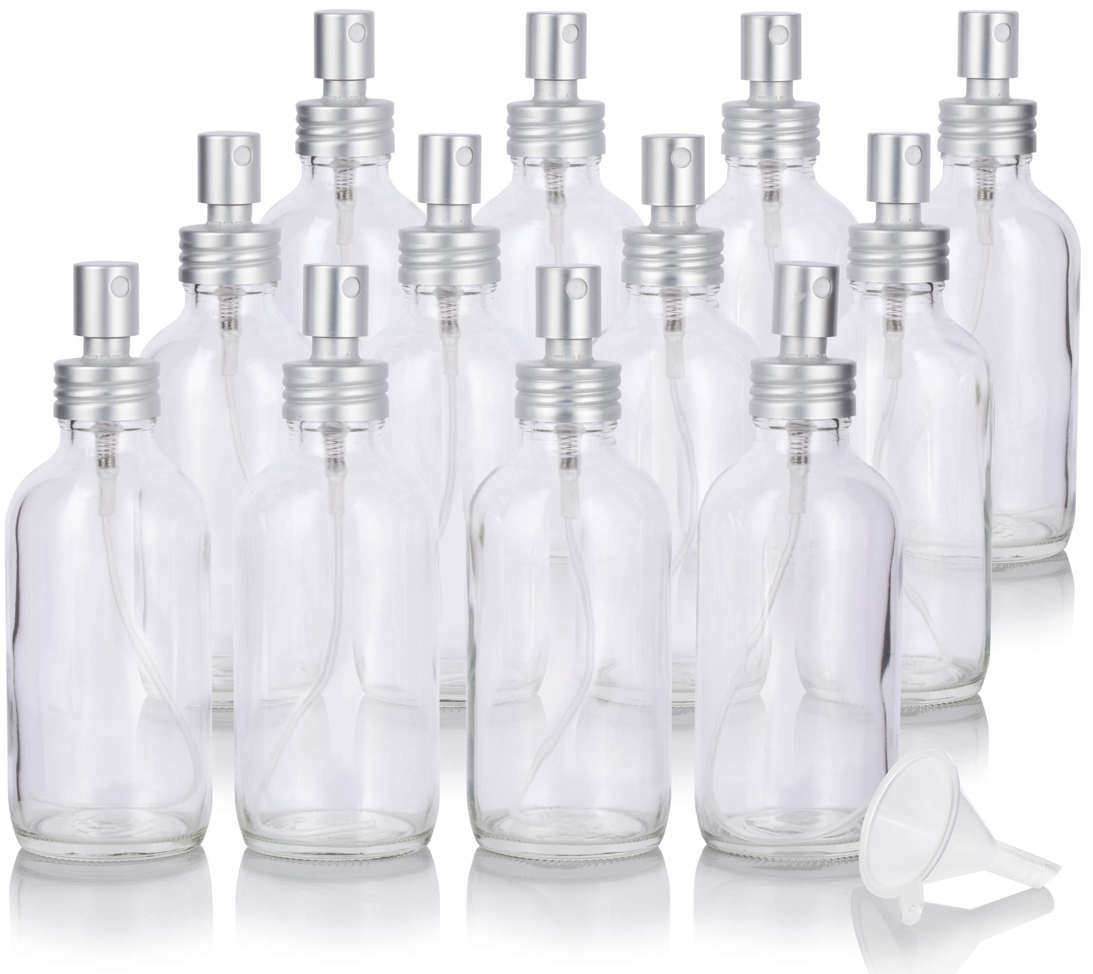 4 oz Clear Glass Boston Round Bottle with Metal Aluminum Fine Mist Sprayer (12 Pack) + Funnel by JUVITUS