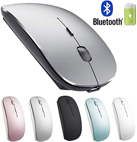 Amazon Com Rechargeable Bluetooth Mouse For Mac Laptop Wireless Bluetooth Mouse For Macbook Pro Macbook Air Chromebook Macbook Ipad Bluetooth Sliver Black Electronics