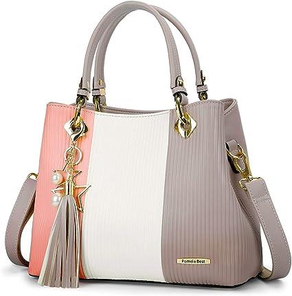Ladies Faux Leather Multi Coloured Women Shoulder Bag Cross Body Handbag Tote UK