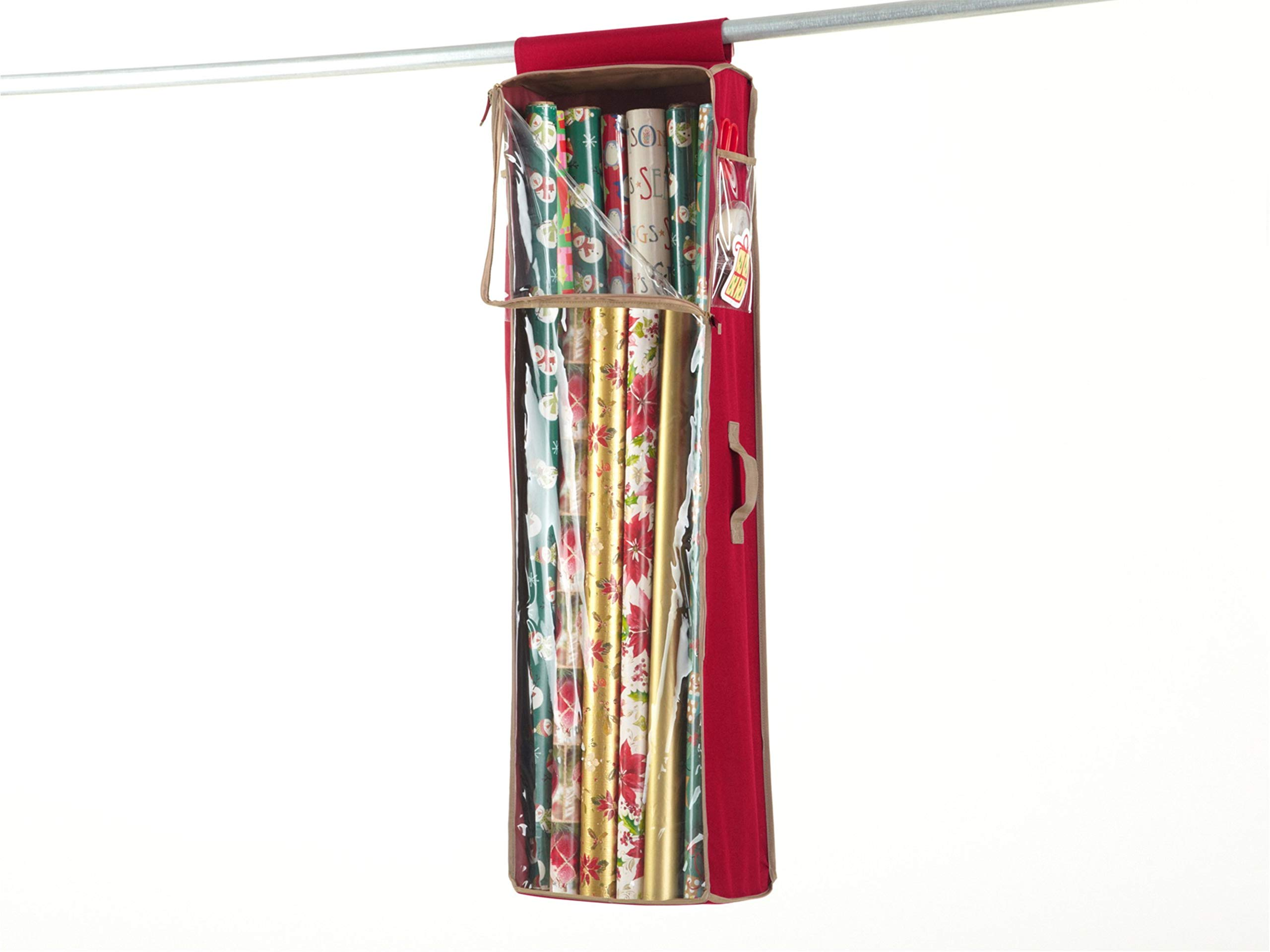 CoverMates – Hanging Gift Wrap Storage Bag – Holds up to 20 Rolls + Accessories – 3 Year Warranty- Red
