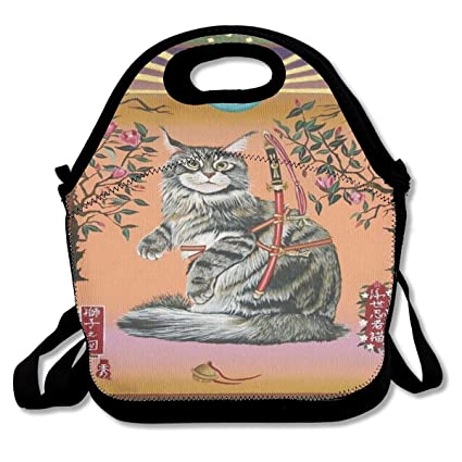 Amazon.com: Oriental Art Ninja Cat Illustrations Lunch Bag ...