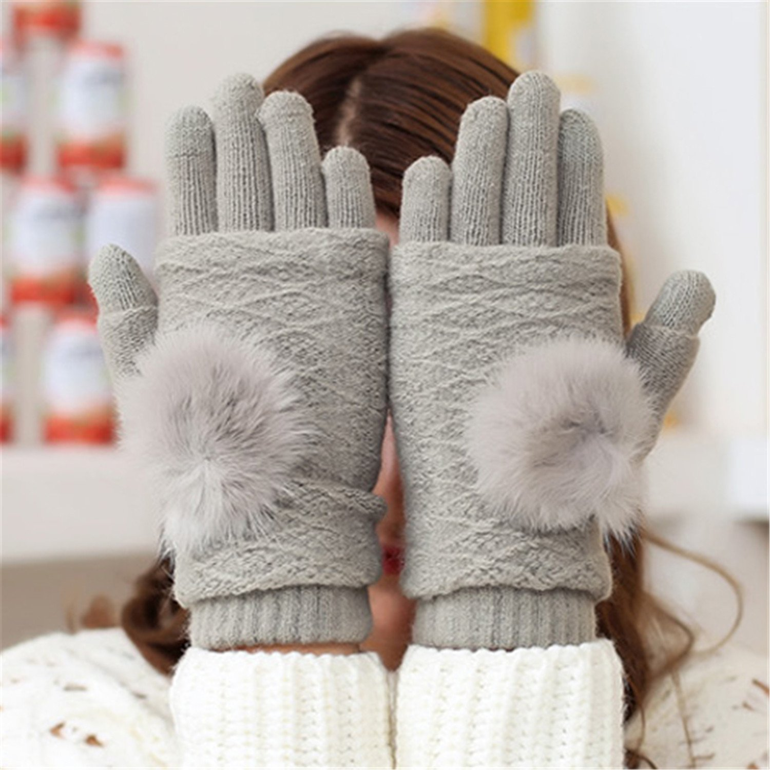 Better Annie Touch Screen Gloves Women Winter Warm Double layer Separable Fingerless Gloves Female Rabbit Fur Pom Poms Mittens Gants Femme Light Gray One Size