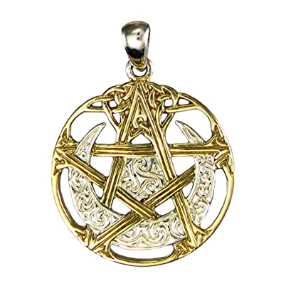 Amazon sterling silver 14k gold plated cut out moon pentacle sterling silver 14k gold plated cut out moon pentacle pentagram pendant mozeypictures Choice Image
