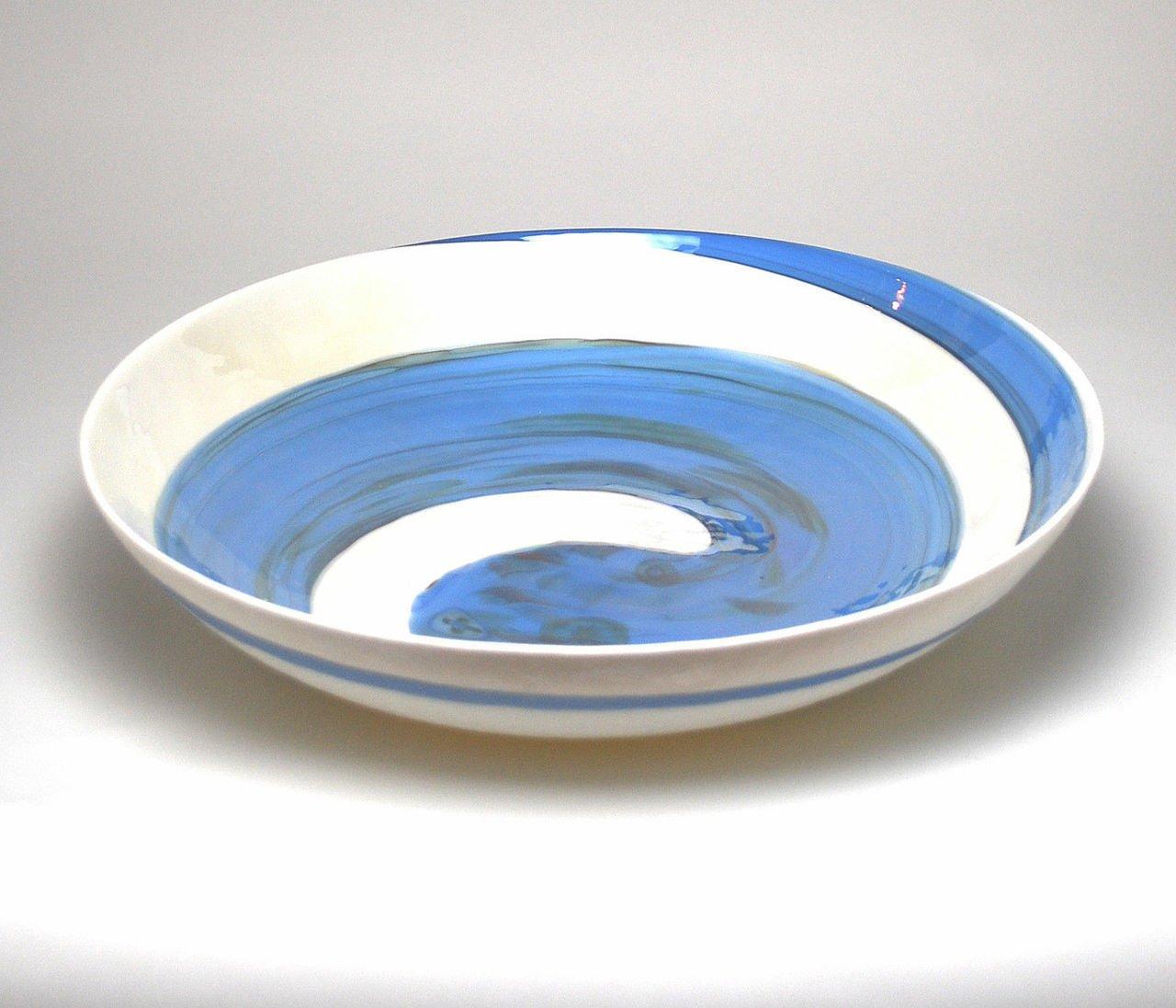 HOME DECOR - ''AEGEAN SEA'' MURANO GLASS CENTERPIECE BOWL - IVORY / BLUE SWIRL