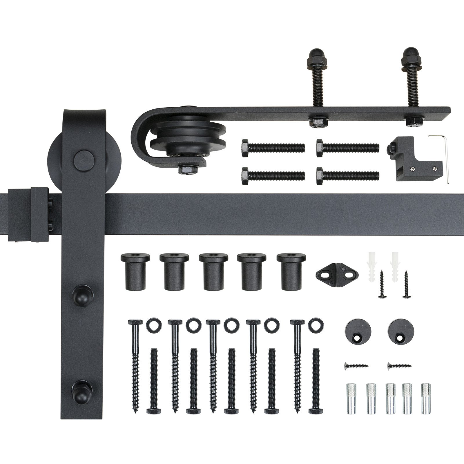 POWERTEC BDR1001 6-Foot Heavy Duty Barn Door Hardware Kit, Black, 100,000 Rolls Tested, One-Piece Rail