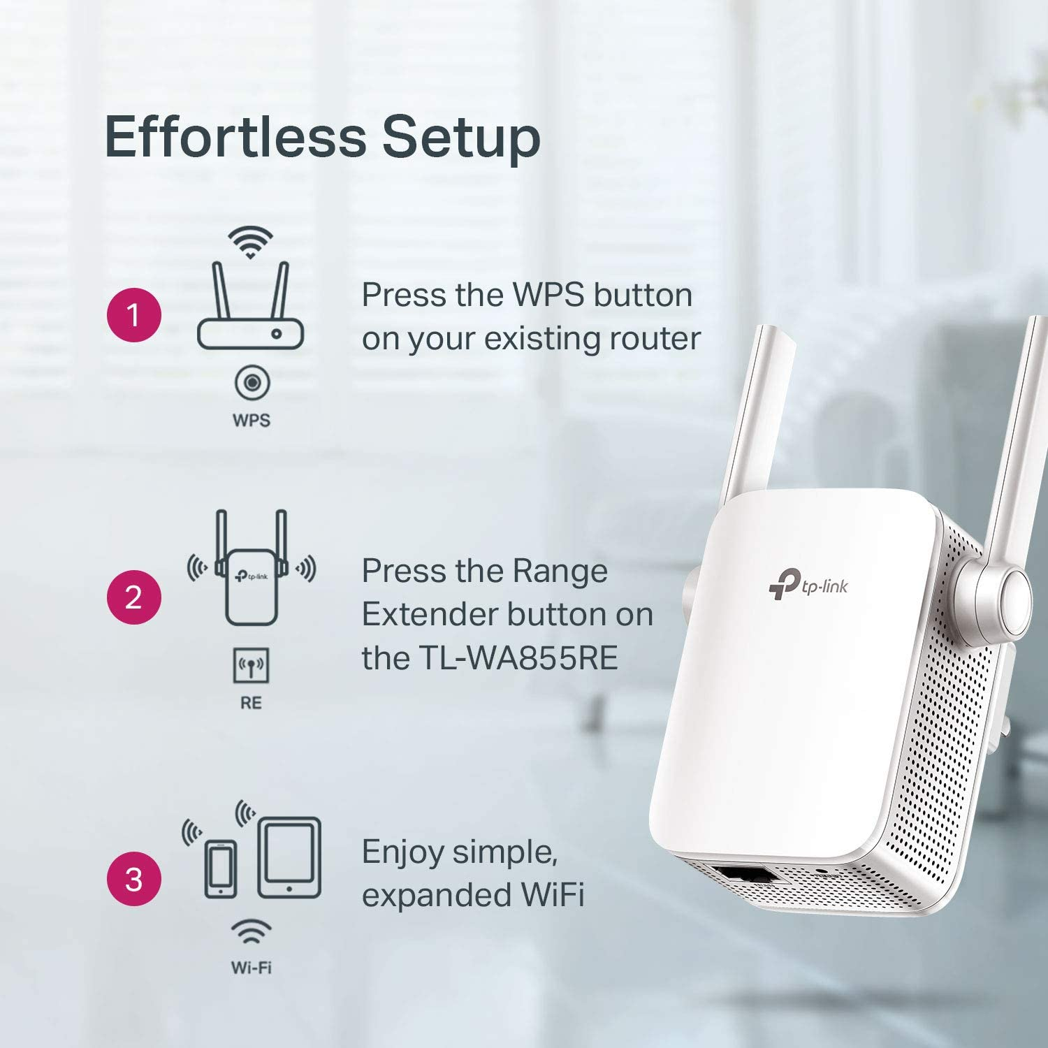 New TP-Link N300 Wireless WiFi Range Extender Repeater Booster TL-WA855RE