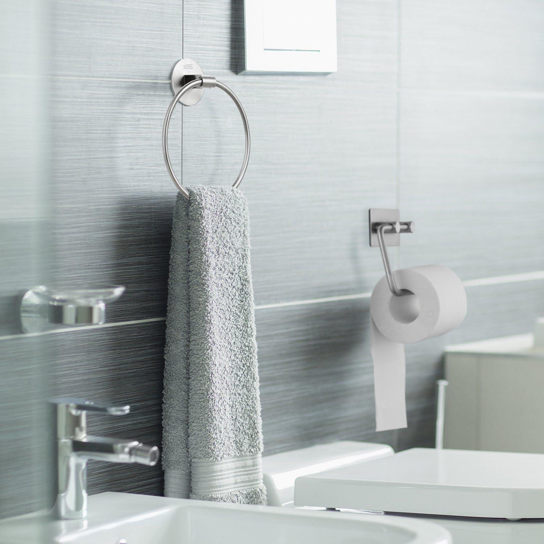 f/ür K/üchen und Badezimmer Handtuch Badet/ücher Handtuchring Handtuchhalter ohne Bohren Selbstklebender Edelstahl Handtuchring 7.08 inches//18cm