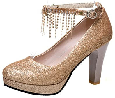 d2291982d6 Mofri Women's Sexy Sequins Rhinestone Fringes Buckle Ankle Strap Bridal  Shoes Round Toe Chunky High Heel
