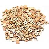 M-Aimee 300 Wood Scrabble Tiles Wooden BlackNumbers Letters Board Crafts