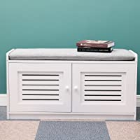 Shoe Storage Bench with Grey Fabric Seat and Cabinet for Entry Hallway Organiser