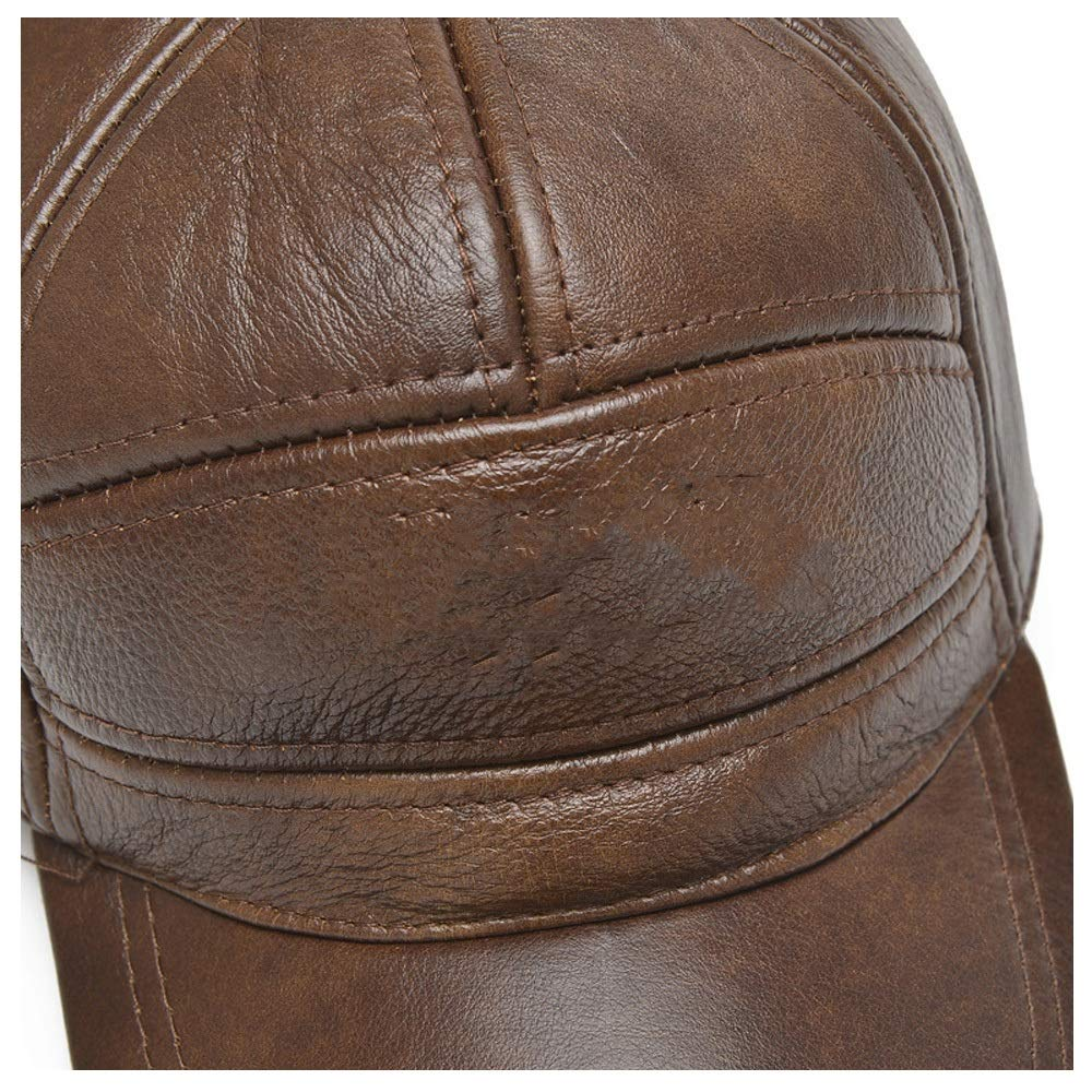 GHC Gorras y Sombreros Sombrero de Piel de Vacuno Real para Hombre Gorra de b/éisbol Simple y vers/átil para pap/á Gorra de b/éisbol de Cuero 100/% Moda