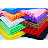 10 Felt Fabric Sheets, Various Colours, A4 size
