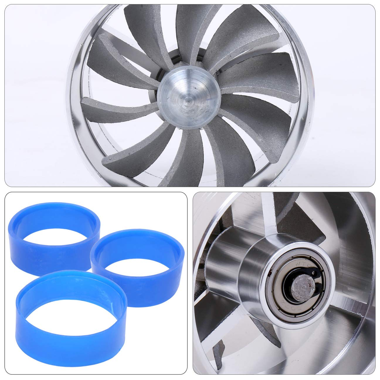AJP Distributors JDM Sport 3 Blue Fuel Gas Saver Air Intake Turbo Filter Supercharger Turbocharger Propeller Fan Adapter