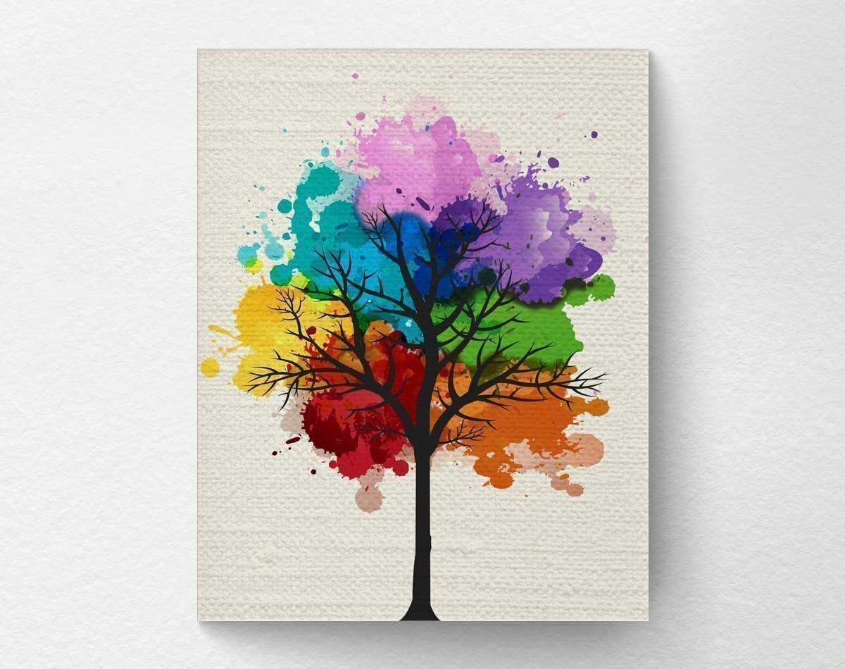 Chakra Rainbow Tree Wall Art Print, Tree Nature Home Decor, Splatter Tree Art, 8x10 Print
