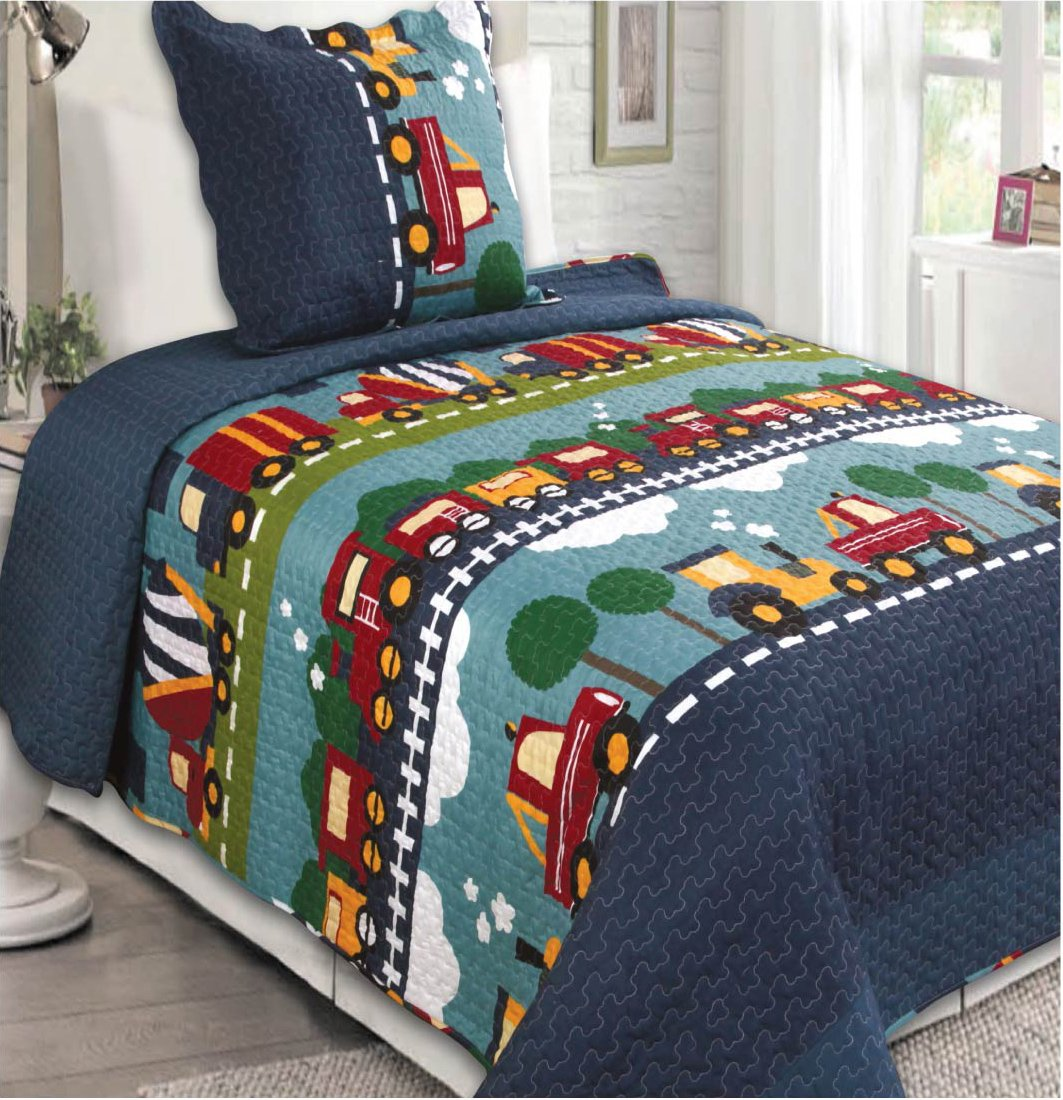 Elegant Home Green Beige Yellow Orange Trucks Tractors Cars Construction Site Design 2 Piece Coverlet Bedspread Quilt for Kids Teens Boys Twin Size # 28