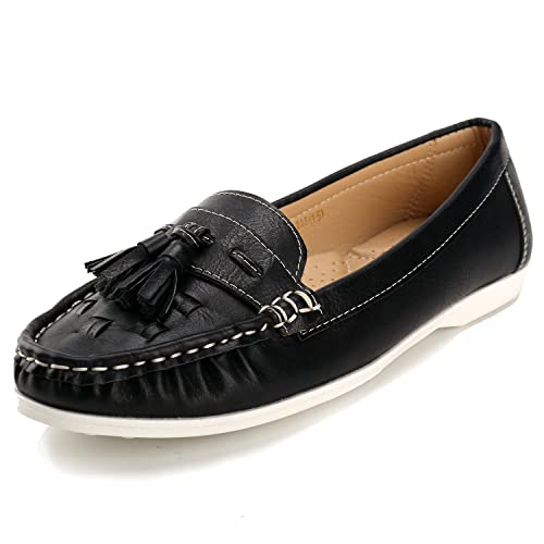 97ac98c9f08 Alexis Leroy Women s Tassels Loafer Slip-On Flats Black 40 M EU 9 ...