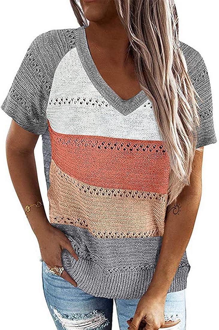 wenyujh Camiseta de manga corta para mujer, cuello en V, camiseta de punto, informal, elegante blusa básica, suelta, de verano, camiseta sin mangas, camisola.