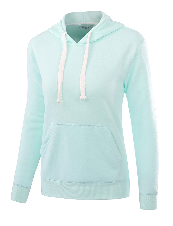 Vetemin Womens Basic Soft Brushed Fleece Long Sleeve Pocket Hoodies Sweatshirts