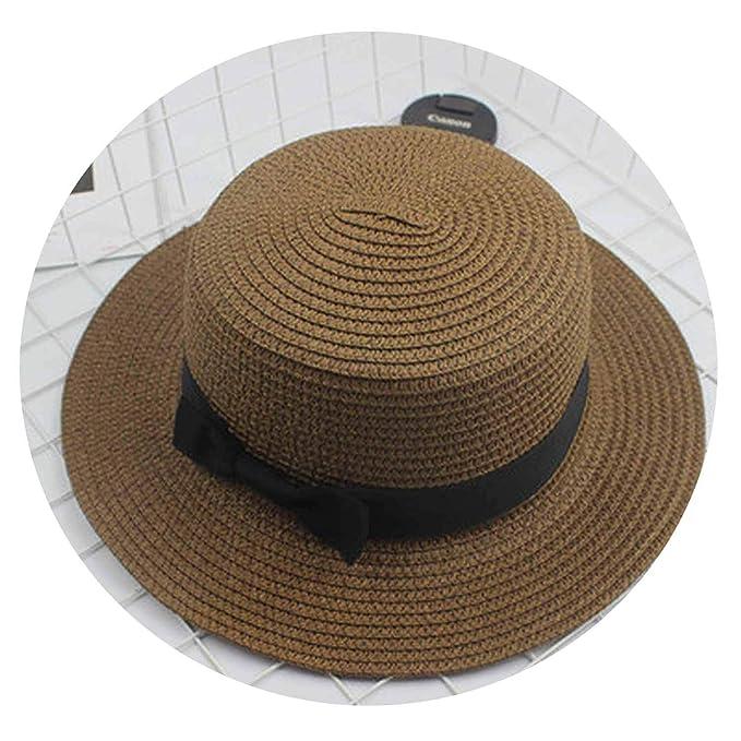 16cc0d266e63d Image Unavailable. Image not available for. Color  Fashion Parent-Child Sun  hat Cute Children Sun Hats Bow Hand Made Women Straw Cap