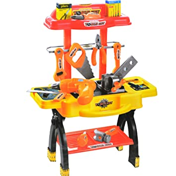 50pc Toy Workbench Kids Childrens Tool Kit Bench Diy Station Electric Drill Play