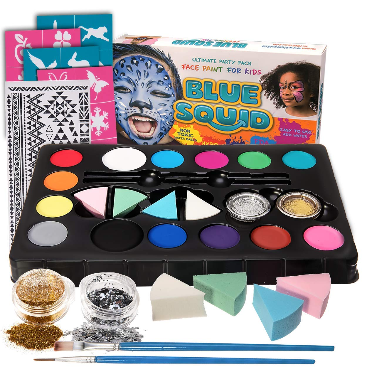Blue Squid Face Paint Kit for Kids, 52 Pieces, 14 Colors, 2 Glitters, 24 Stencils, Tattoo Sheet, 4 Sponges, Face Painting Party Supplies - Safe for Sensitive Skin - Professional Costume Makeup