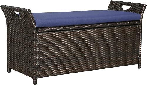 Patio Tree Outdoor Wicker Storage Bench Patio Furniture Rattan Deck Storage Bin