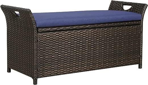 Patio Tree Outdoor Wicker Storage Bench Patio Furniture Rattan Deck Storage Bin with Cushion (Navy)
