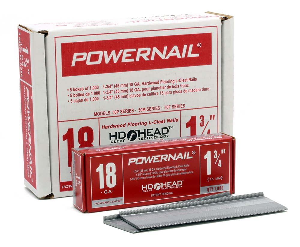 Powernail 18ga 1-3/4'' HD L Cleat Flooring Nail (1 Case of 5-1000ct Boxes)
