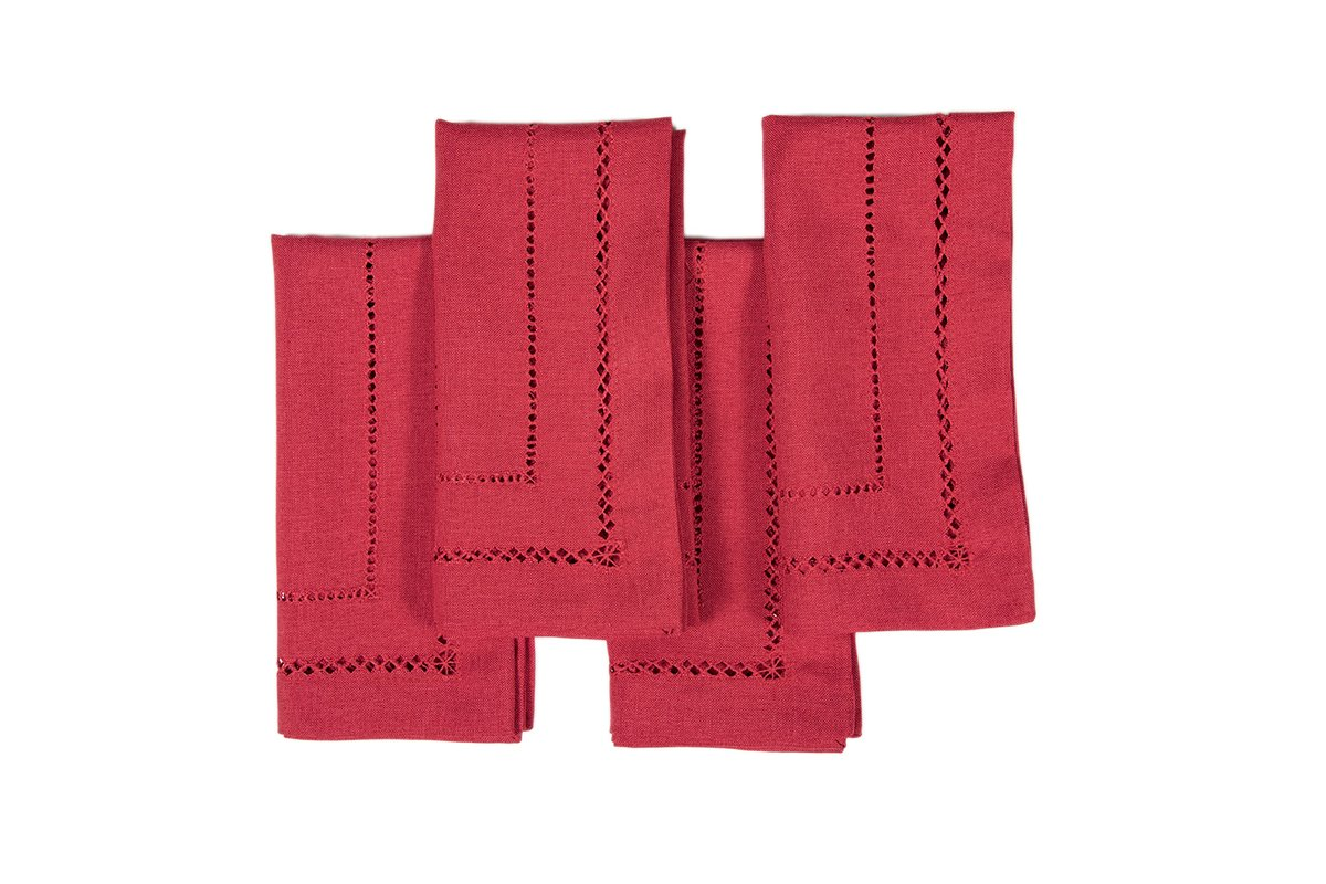 Xia Home Fashions Double Hemstitch Easy Care Napkins, 20 by 20-Inch, Red, Set of 4