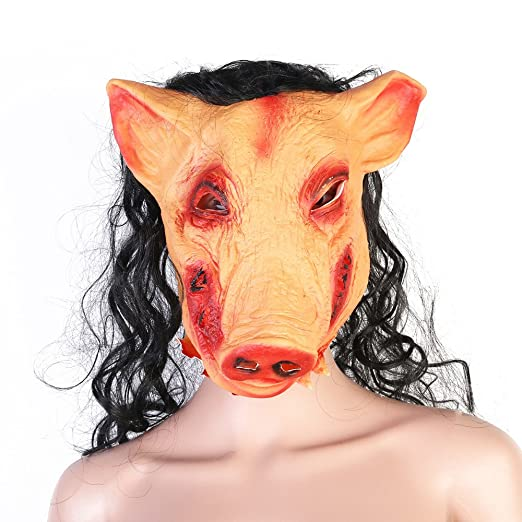 HUPLUE Halloween Pig Head Mask with Hair Scary Head Mask Horrible Animal Saw Masquerade Party Costume  sc 1 st  Amazon.com & Amazon.com: HUPLUE Halloween Pig Head Mask with Hair Scary Head Mask ...