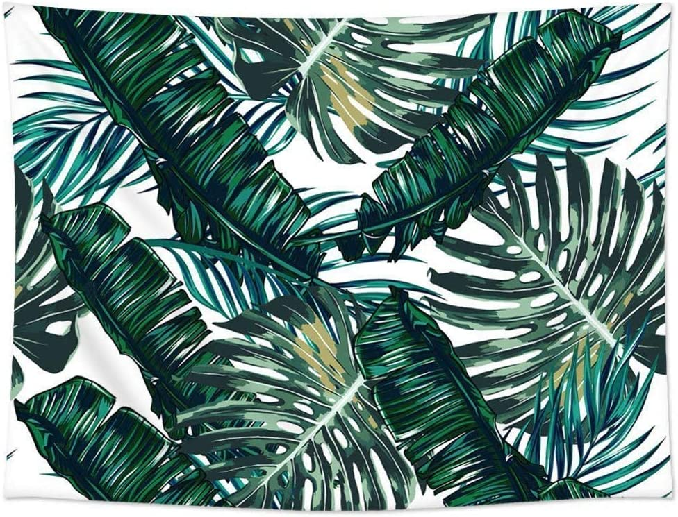 Ruibo Tropical Palm Leaves Decor Tapestry Pattern/Large Green Leaves Hanging Wall Decor Bedroom Living Room Dorm Wall Hanging Tapestry Beach Throw(RB-TPL-1)(W:79
