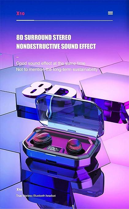 MeterMall - Auriculares inalámbricos Bluetooth V5.0 HiFi 8D ...