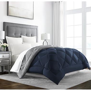 Sleep Restoration Goose Down Alternative Comforter - Reversible - All Season Hotel Quality Luxury Hypoallergenic Comforter -Full/Queen - Navy/Sleet
